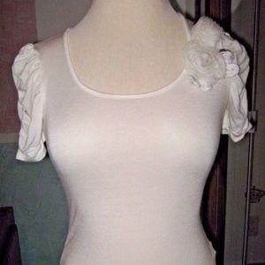 Ruffle Ruche Short Sleeve White Fabric Flower Top
